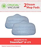 2 Washable Microfiber Steam Cleaner Pads Fits SteamMax SF-275/SF-370; Replaces Steam Mop Part A275-020; Designed & Engineered by Crucial Vacuum