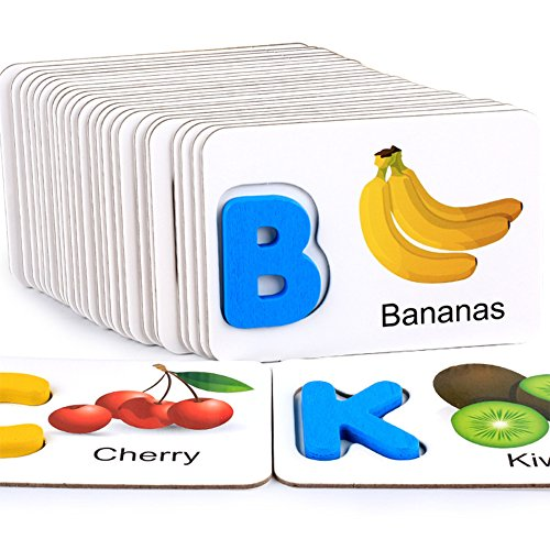 Baby Early Education Toy Learning Fruit Vegetable ABC Alphabet Toys Cute Colorful Wooden Letter Cards