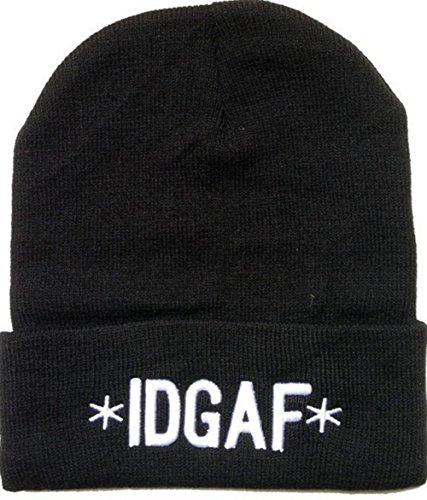 E-SHINE CO nuevo negro IDGAF bordado Beanie cráneo tapa sombrero de hip hop