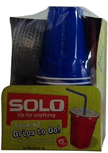 Solo 9 Oz Plastic Cup, Lid, and Straw Combo Pack, 15 Cups (No BPA) (Blue)
