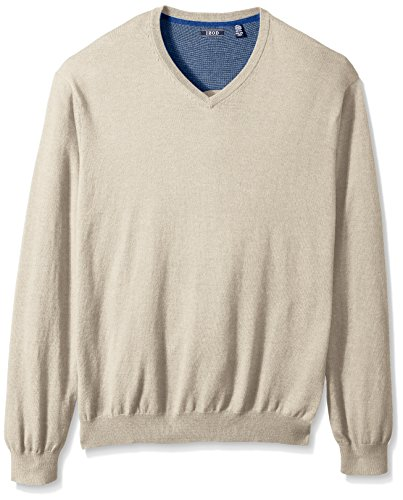 IZOD Men's Big and Tall Fine Gauge Solid V-Neck Sweater, Dark Rock Heather, 4X-Large Tall by IZOD