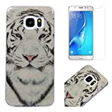 For Samsung Galaxy S7 Case with Screen Protector,OYIME Glitter Bling Design Ultra Thin Slim Fit Protective Back Cover Soft Silicone Rubber Shell Drop Protection Anti-Scratch Transparent Bumper and Screen Protector (Tiger)