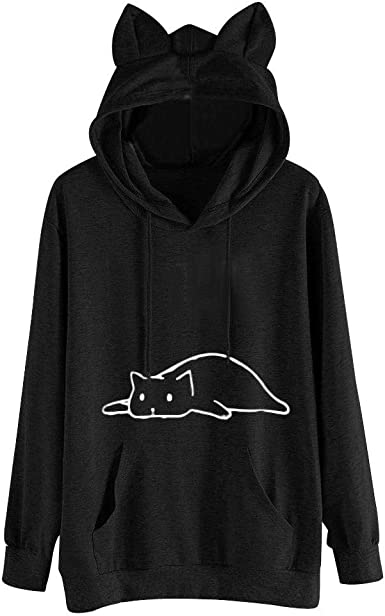 Women Pullover Hoodies Witch Maternity Skeleton Long Sleeve Fleece Hooded Sweatshirt Sweater Blouses Tops