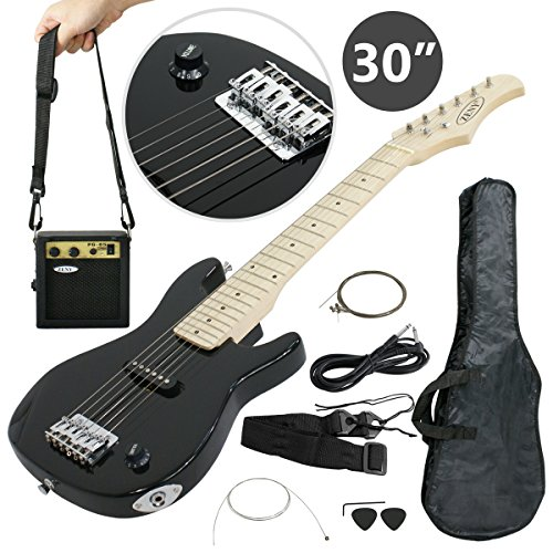 Smartxchoices 30″ Inch Kids Electric Guitar with 5W Amp Cable Cord Pick Shoulder Strap Much More Guitar Combo Accessory Kit for Beginner Starter Holiday Gift (Black)