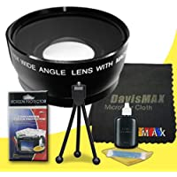 58mm Wide Angle Lens for Nikon D5200 with Nikon 55-300mm Lens + DavisMAX Fibercloth Deluxe Lens Bundle
