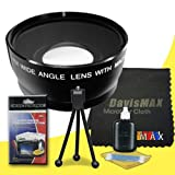 49mm Wide Angle Lens for Sony Alpha NEX-5K with Sony 30mm f/3.5 Macro Lens + DavisMAX Fibercloth Deluxe Lens Bundle