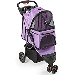 Fur Family Foldable Pet Stroller Cat Dog Cage 3 Wheels, w/ Cup Holder, Purple