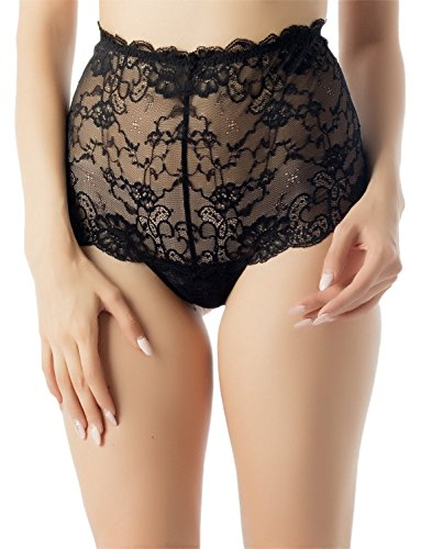 iB-iP Women's See Through Sexy Sheer Lace Vintage Style High Waist Hipster Panty, Size: M, Black