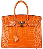 Cherish Kiss Padlock Bag Women Crocodile Leather Top Handle Handbags (35cm, Orange)