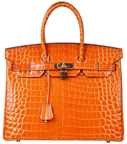 Cherish Kiss Padlock Bag Women Crocodile Leather Top Handle Handbags (35cm, Orange) by Cherish Kiss