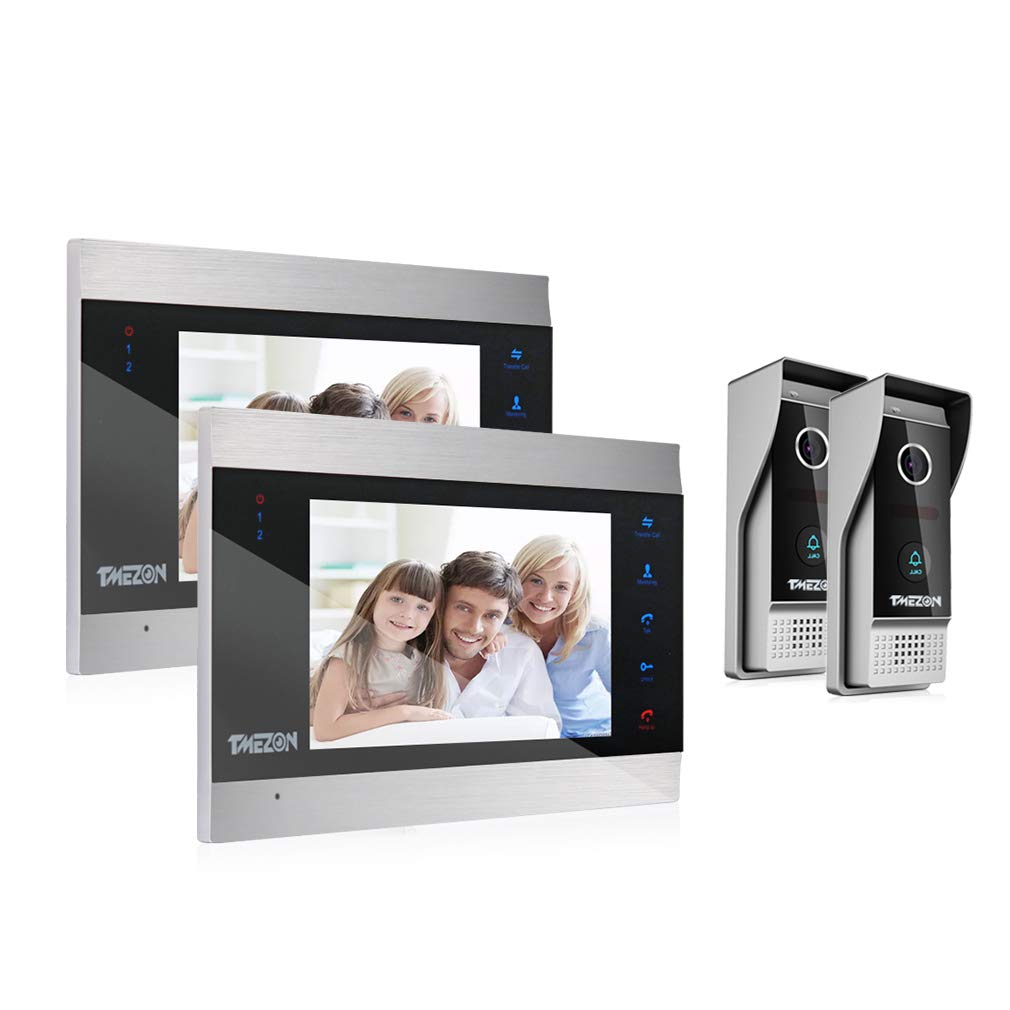 TMEZON Video Door Phone Doorbell Intercom System,Door Entry System with 7 Inch 1-Monitor 2-Camera For 1-Family house,Touch Button, Night Vision,Support Automatically Snapshot/Recording MZ-VDP-739EM/1M2C
