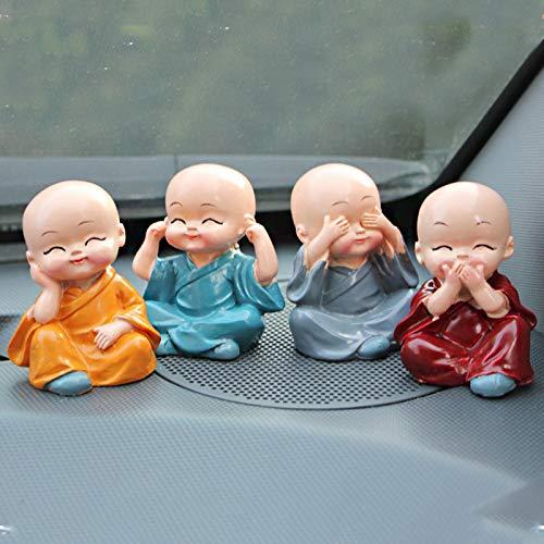 TiooDre 4pcs / Decoraciã ³ n del Coche de Cuatro Pequeã ± Os monjes Pequeã ± Os Adornos Preciosos Regalos Accesorios del Interior del Coche de la Muã ± Eca Creativa de Resina Maitreya
