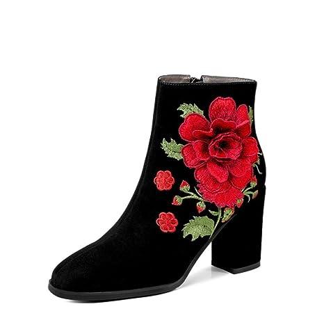 Best 4U® Zapatos de mujer Botas de gamuza de invierno Botas de tacón grueso Botines
