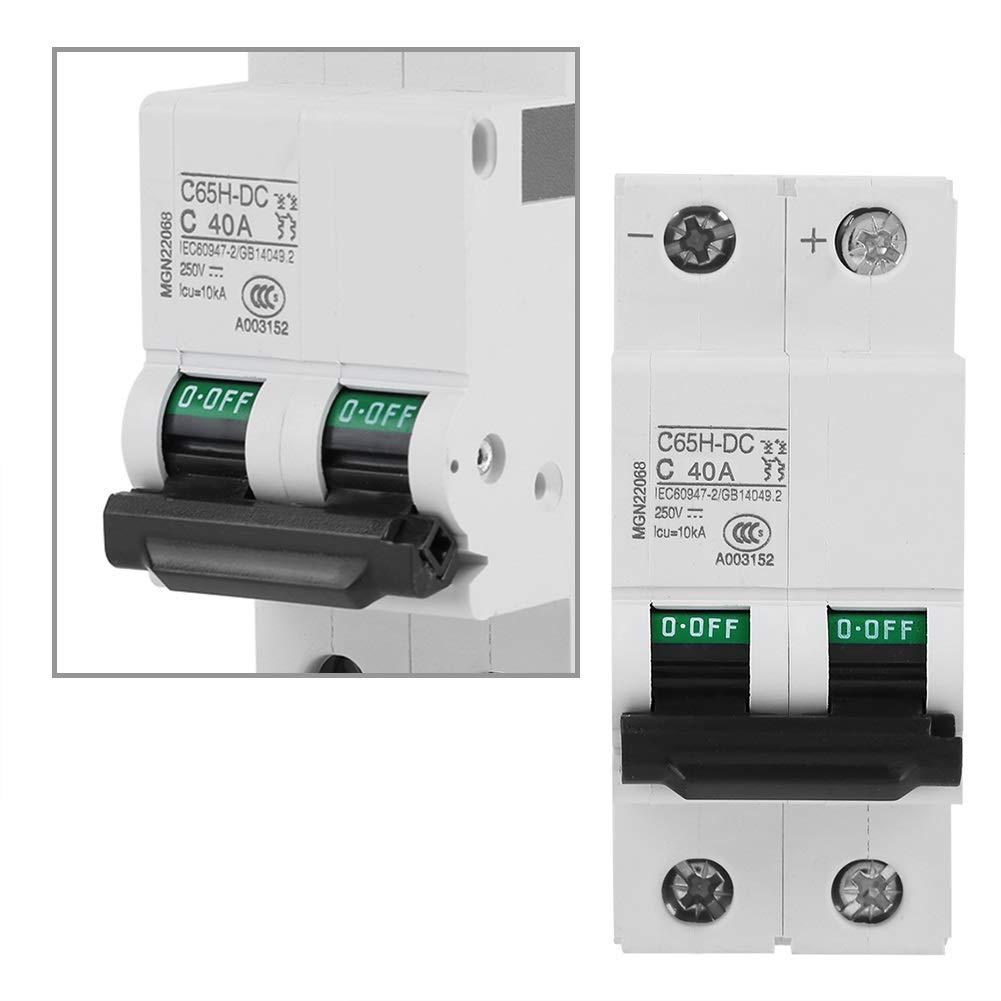 25A ou 40A Aeloa DC Circuit Breaker-2P 250V DC Basse Tension Miniature for syst/ème de r/éseau de Panneaux solaires Taille : 25A