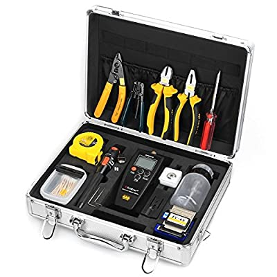 Fiber Optic Assembly Cables Termination Tool Kits 26 in 1 Cold Connection Tool with the FC-6S Fiber Cleaver 10mW Visual Fault Locator APM-820 Fiber Optic Power Meter Fiber Stripping Tool Equipment