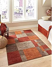 Unique Loom Autumn Collection Checkered Abstract Casual Warm Toned Multi Area Rug (8' x 10')