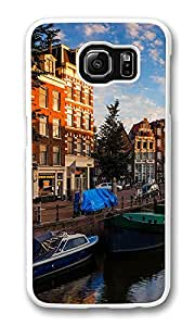 VUTTOO Rugged Samsung Galaxy S6 Case, Morning On Amsterdam Canals Polycarbonate Plastic Case Back Cover for Samsung Galaxy S6 PC White