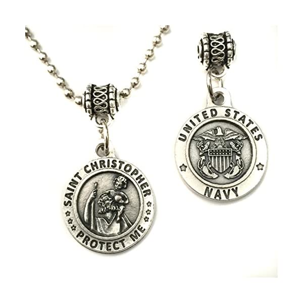 Saint-St-Christopher-United-States-US-Navy-Protection-Protect-Us-Medal-Pendant-Military-Charm-Necklace-Catholic-Made-in-Italy-Silver-Tone-34-Inch