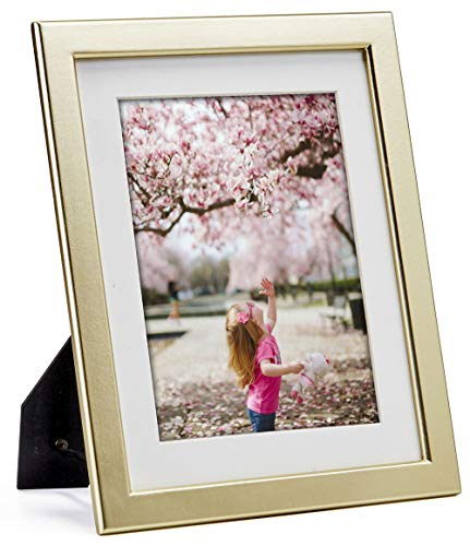 JD Concept 8x10 Light-Gold Wood Picture Frame with Mat, Display Photo 6x8 with Mat or 8 by 10 Without Mat, Perfect Thin Design for Table Desk-top or Wall Hanging