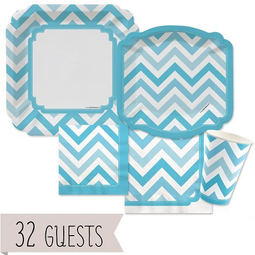 Chevron Blue - Party Tableware Plates, Cups, Napkins - Bundle for 32 (Chevron Blue Dessert Plates)