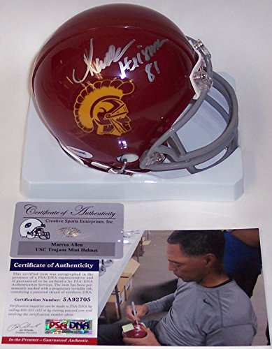 Marcus Allen Autographed Hand Signed USC Trojans Mini Football Helmet - with 81 Heisman Inscription - - Mini Heisman Helmet Autographed