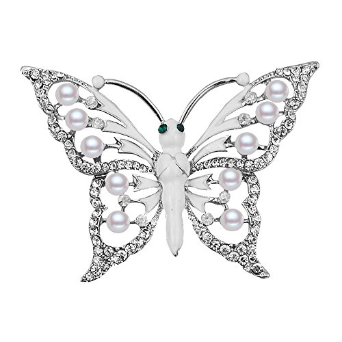 Cute Bestfriend Costumes (Crystal Rhinestones Assorted Cute Insect Butterfly Brooch Pins Fashion Costume Jewelry for Women Girls (silver))