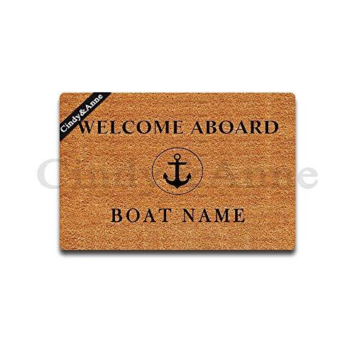 Tdou Mats Welcome Aboard Boat Name Doormat Entrance Floor Mat Funny Doormat Door Mat Decorative Indoor Outdoor Doormat 23.6 By 15.7 Inch Machine Washable Fabric Top