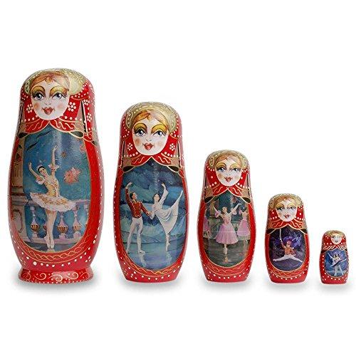 BestPysanky Set of 5 Russian Ballet Dancers Wooden Russian Nesting Dolls 8 Inches