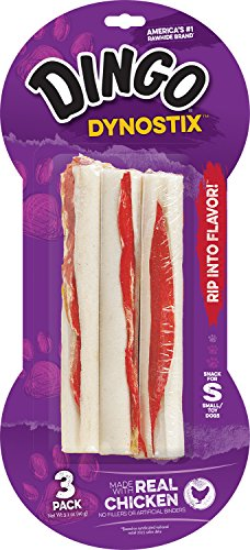 Mini Dog Toy Rings - Dingo Dynostix Rawhide Treats, 3-Count