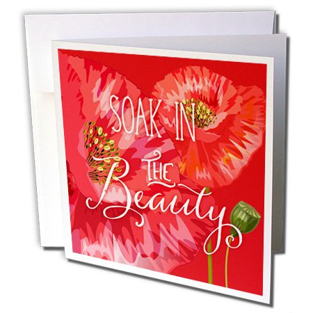 Doreen Erhardt Floral - Red Poppies Soak in the Beauty Floral Garden - 1 Greeting Card with envelope (gc_244652_5)