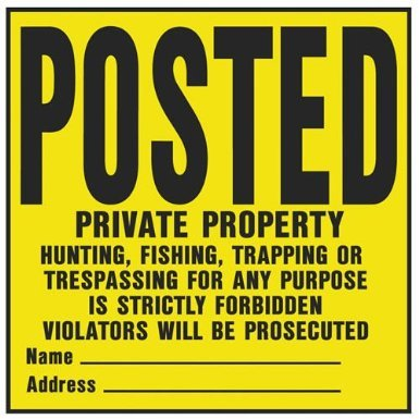 Hy-Ko YP-1 11'' X 11'' Plastic Private Property Sign