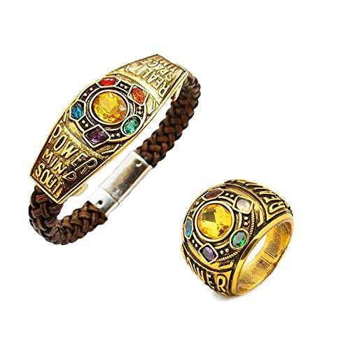 3Pack Hot Avengers Infinity War Thanos Ring with Cosplay Bracelet]()