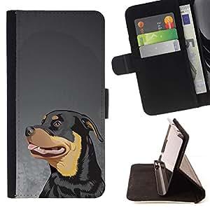 Momo Phone Case / Flip Funda de Cuero Case Cover - Rottweiler Pintura Arte del perro de cara grande; - HTC One A9