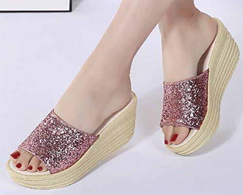 De Antidérapants on Paillettes Fond Mules Sandales Épais Soft Pink Runyue Pantoufles pour Chausson Femmes Casual Chaussures Slip x8wWPqYO