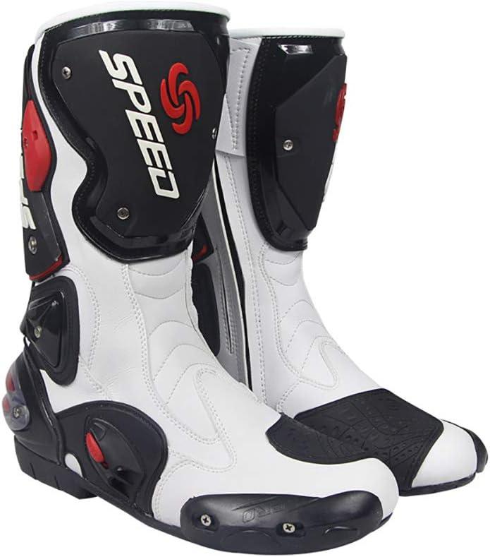 Motorrad wasserdichte Stiefel,Wei/ß,44 Soft Biker Speed Motocross Stiefel Anti-Rutsch-Motorrad-Schuhe Wensa Motorrad-Stiefel