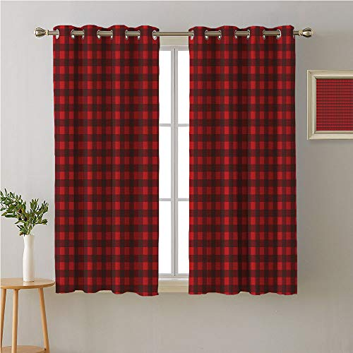 Jinguizi Buffalo Plaid Grommet Curtain Doorway,Traditional Style Composition of Geometric Rectangle Shapes,Image Darkening Curtains,72W x 45L