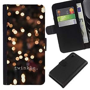 iBinBang / Flip Funda de Cuero Case Cover - Winter Lights Nuit Jaune - Sony Xperia Z3 D6603 / D6633 / D6643 / D6653 / D6616