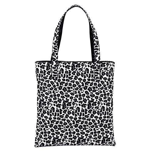 (Colorido Fashion Leopard Print Women Tote Shoulder Bag,Canvas Zipper Handbag Shopping Bag Black)