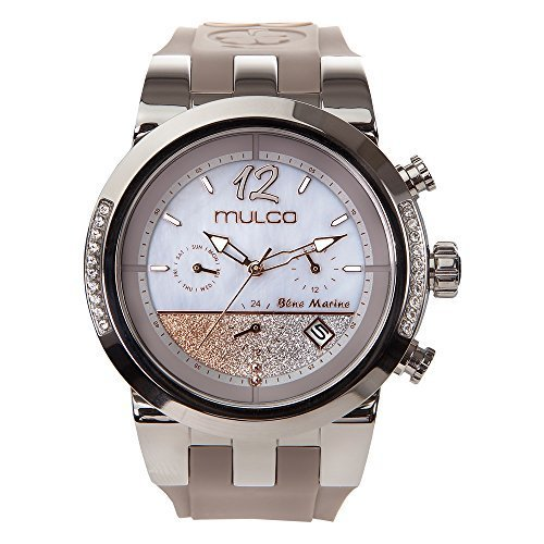 Mulco Blue Marine Infinity Quartz Multifuncion Movement Women's Watch | Mother of Pearl Sundial Display Rose Gold Accents | White Watch Band | Water Resistant Stainless Steel Watch (Grey)