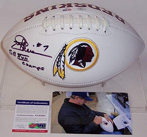 Joe Theismann Autographed Hand Signed Washington Redskins Full Size Logo Football - with SB XVII Champs Inscription - (Joe Theismann Football)