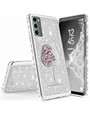 Miagon for Samsung Galaxy Note 20 Glitter Case,Creative Flowing Sand Wine Cup Design Bling Diamond Soft Gel TPU Silicone Electroplating Protective Bling Case Cover