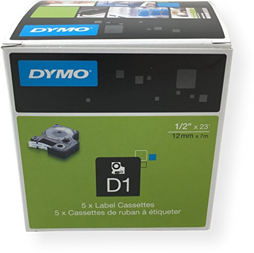 DYMO Standard D1 labeling tape for Labe lManager Label Makers, Black print on Clear tape, 1/2