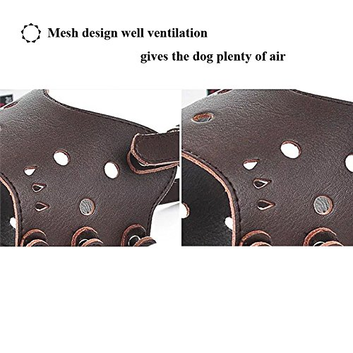 Ennc Pet Muzzles Adjustable Anti-biting Leather Dog Muzzle Flexible Leather Breathable Safety Pet Dog Muzzles Mask for Biting and Barking Lightweight and Durable for Dogs Puppy by Ennc (Image #3)'