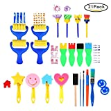 niceEshop Painting Tools for Kids, (TM) 21 Pieces Painting Flower Sponge Brushes, Art & Craft Drawing Tools Supplies