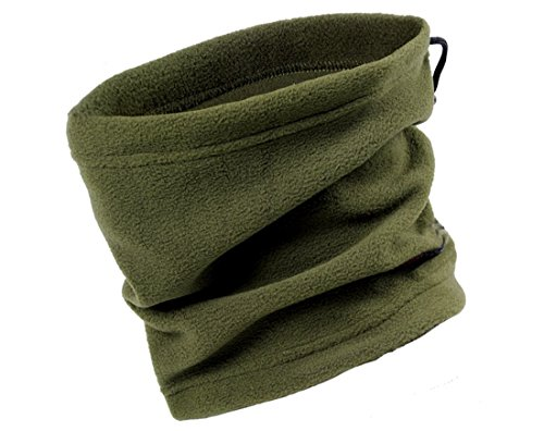 Easy Lifestyles 3 in 1 Function Unisex Polar Fleece Neck Warmers Snood Scarf Hat Ski Wear Snowboarding (Army green)