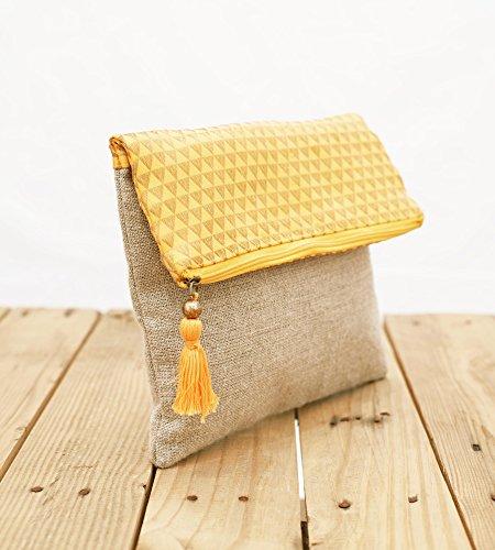boho lino della borsa, broccato, giallo e oro, modello a triangolo, marocchino, Foldover frizione, 25,4x 20,3cm