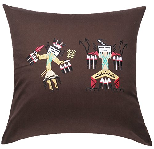 CasStar 100% Cotton 18x18 Inches Square Cushion Case Embroidered Native American Art Yei Throw Pillow Cover, - Rug Yei