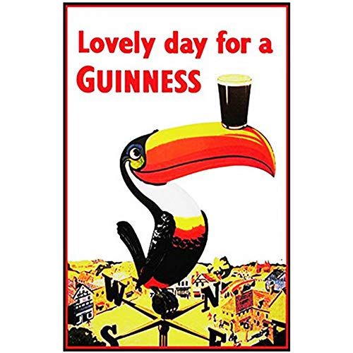 - FlowerBeads Lovely Day for Guinness Iron Sign Metal Tin Posters, House Cafe Pub Bar Vintage Metal Painting Home Decor