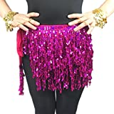 Luxurious Fringe Belly Dance Hip Scarf Belt With Sequins Hula-Hula Modern Dance Skirt(Rose Red) Christmas Gift