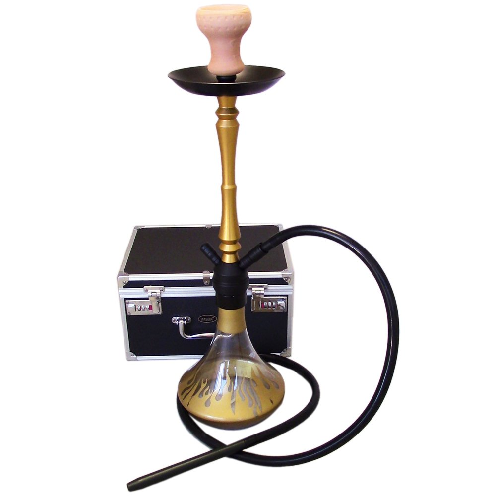 The 24'' Golden Flame Aluminum Hookah Shisha with a Premium Carry Case & Silicone Hose